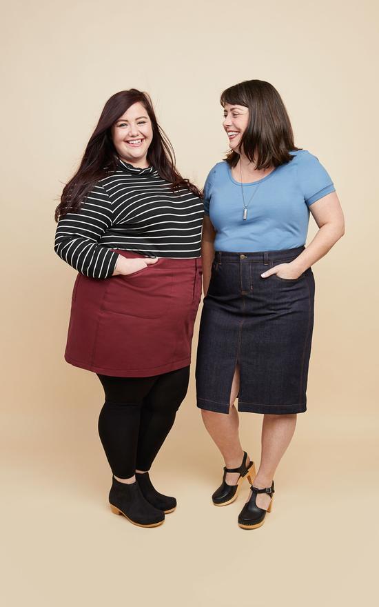Cashmerette Ellis skirt, modelled by a size 16 and size 28 models.