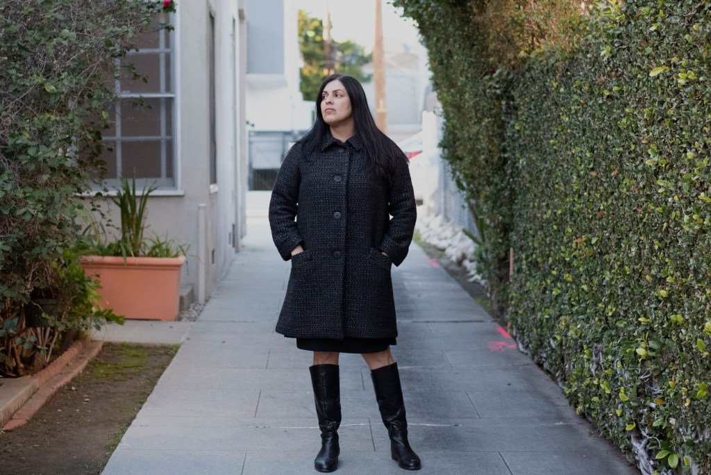 The author posts again with her beautifully tailored wool coat.