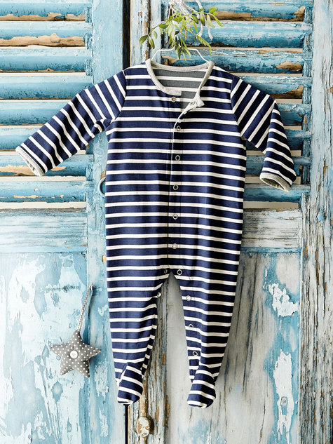 Picture of a striped baby onesie from Burda Style
