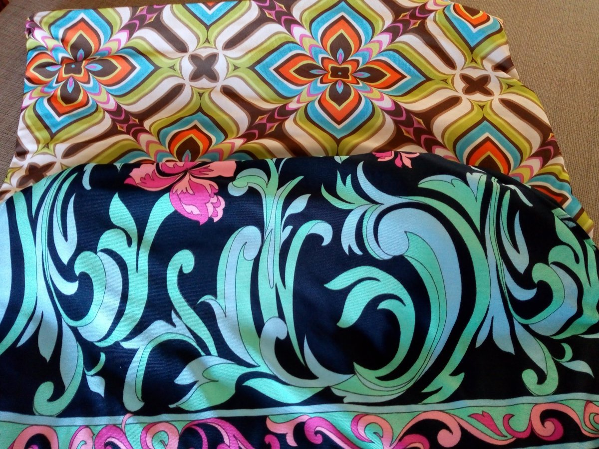 Wildly colourful retro print knit fabrics, waiting to be cut!