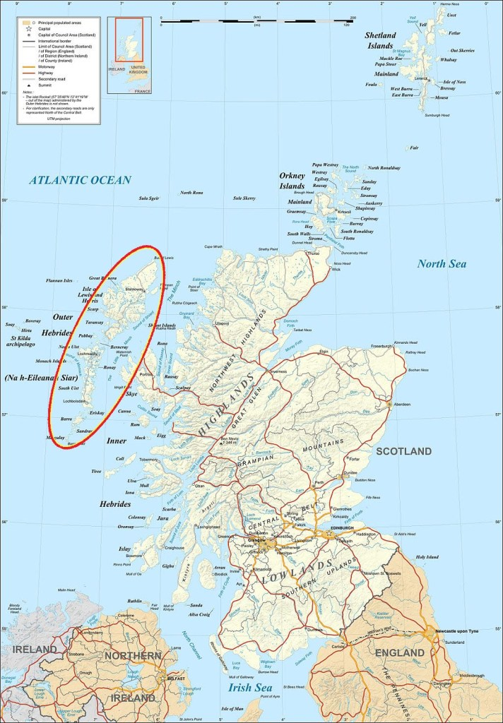 A map of Scotland showing the Outer Hebrides off the West Coast. They're a crescent shape string of islands, curving round the Inner Hebrides.