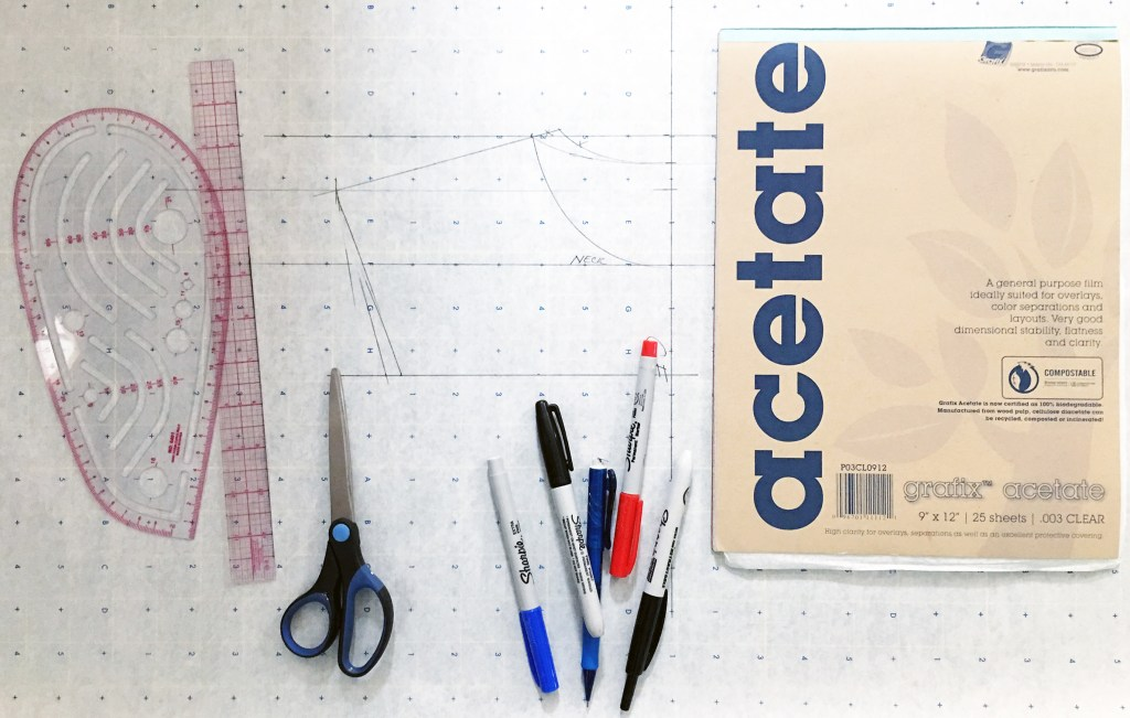 Image of all of the tools necessary to create a Rule Tool: French ruler, regular ruler, scissors, Sharpies, grafix acetate, pattern paper, and the shape you want to trace.