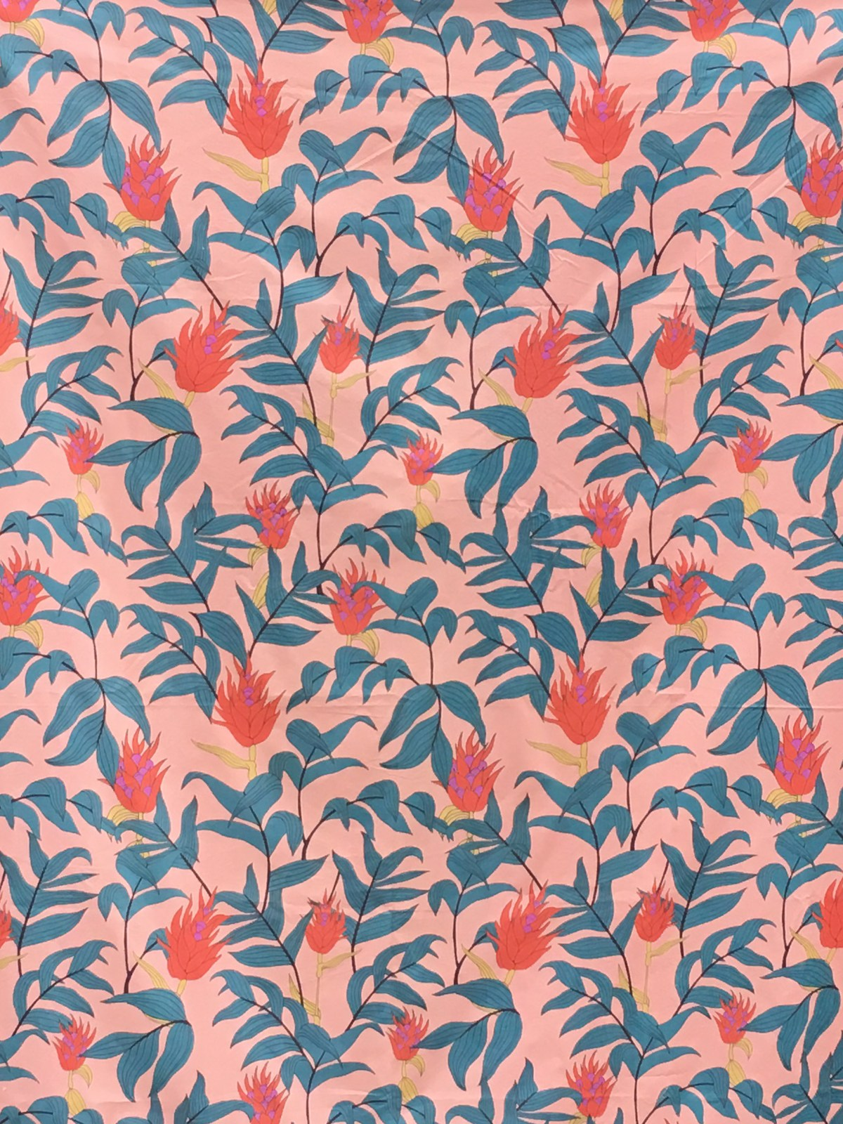 Light pink fabric with a large-scale red and green floral motif