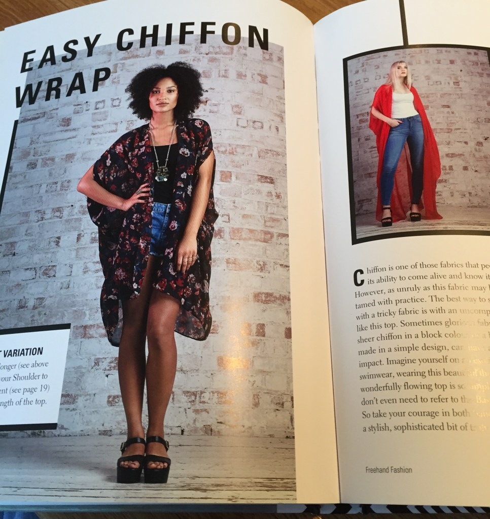 "Image shows the double spread in Chinelo Bally's book ""Freehand Fashion' of a mid length floaty floral black chiffon wrap and a full length solid red chiffon wrap."