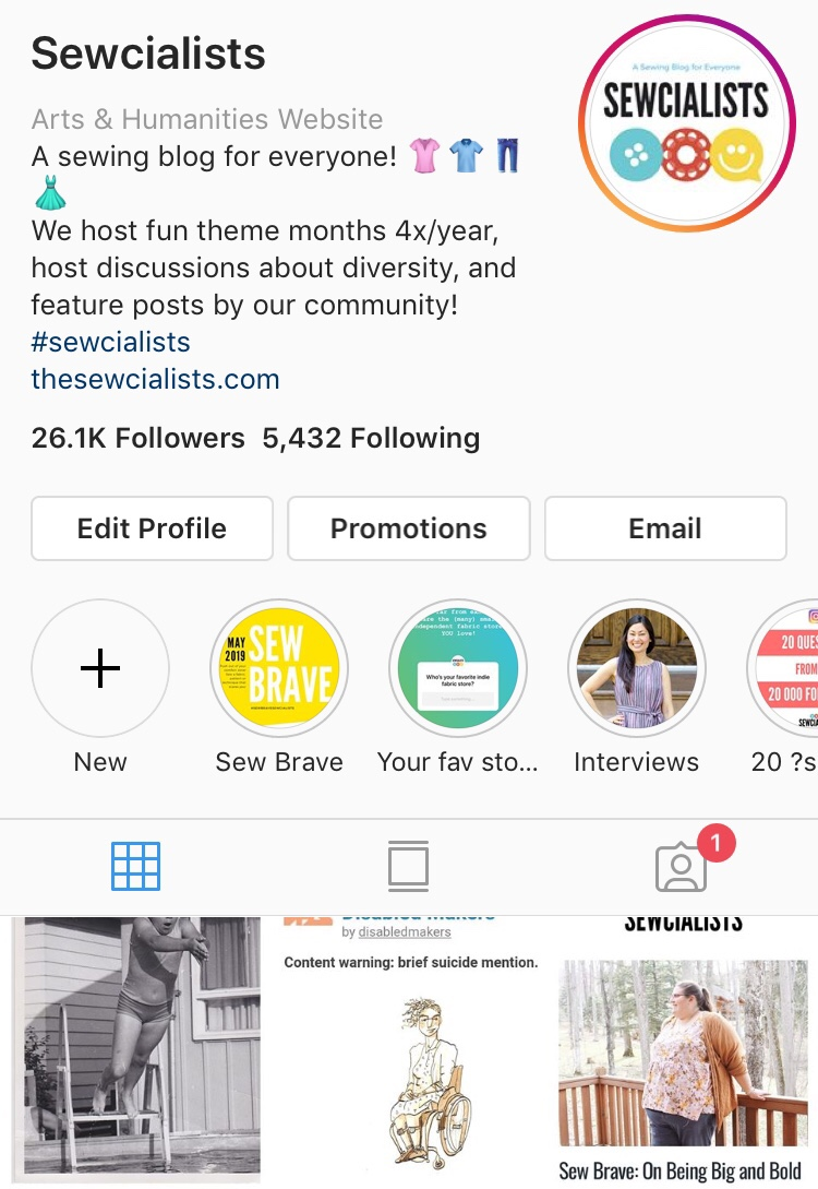 A screen capture of the Sewcialists Instagram profile, showing 26.1K followers and over 5.4K followed accounts.