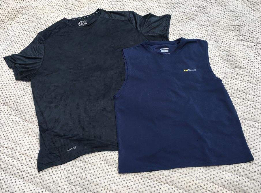 Image of a men's black T-shirt and a men's dark blue tank top.