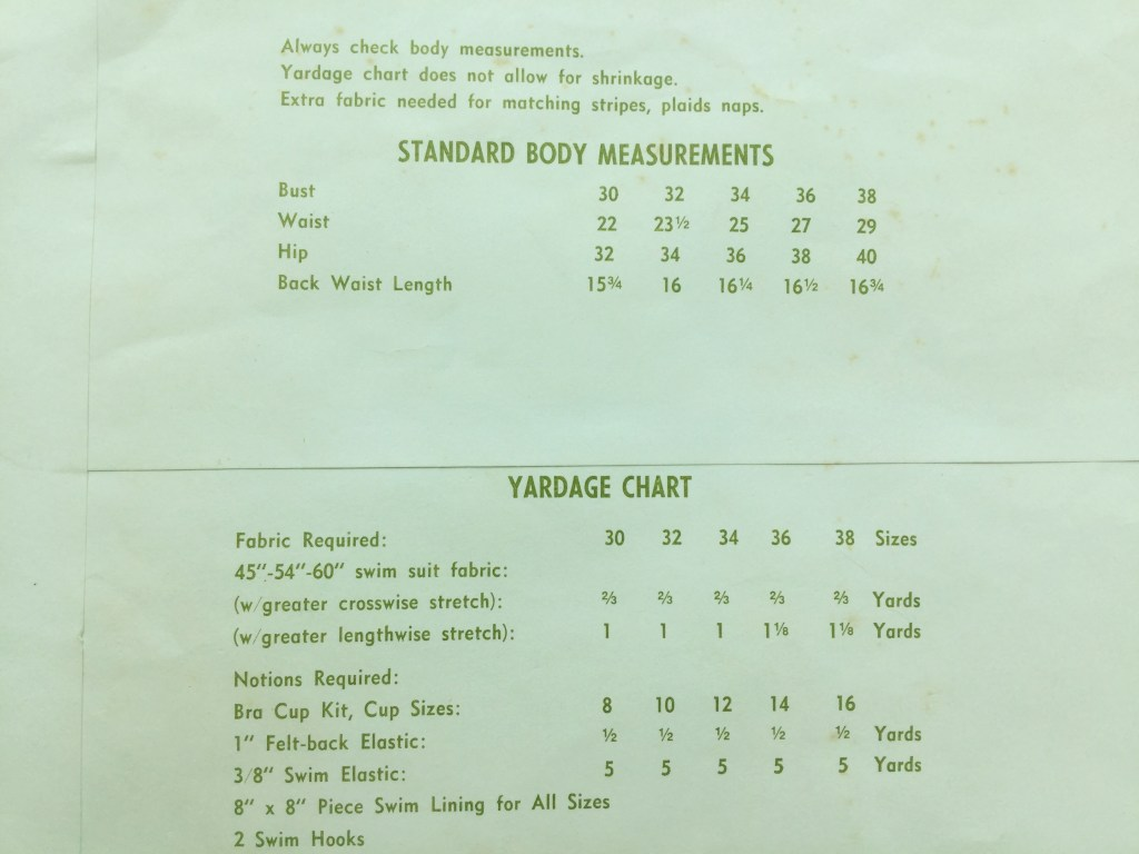 Photo of the back of the pattern envelope for Stretch and Sew 1395, showing the measurements for sizes included in the pattern and a list of supplies and fabric needed to make the suit. The largest size, 38, corresponds to a 38 inch bust.
