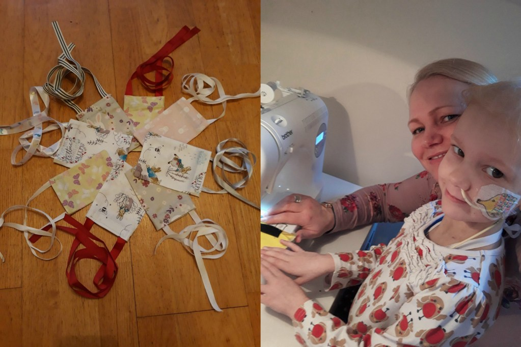 Photo montage of wiggle bags and the author with daughter at a sewing machine