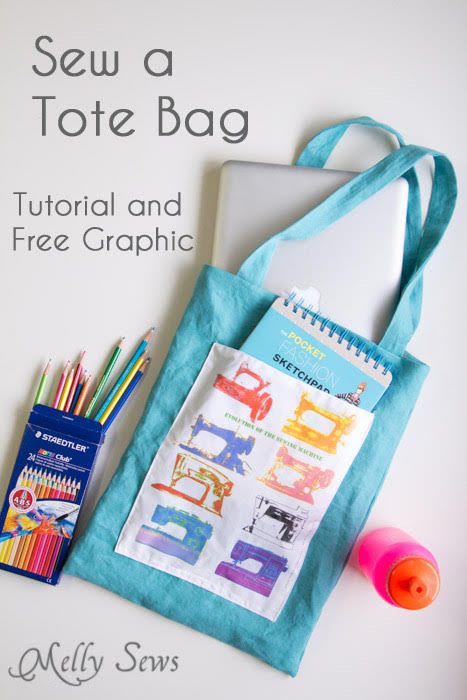 "This image is from MellySews and accompanies her free Tote Bag pattern. The image includes text: ""Sew A Tote Bag: Tutorial and Free Graphic."" There is a bright blue finished tote in the frame, alongside items that could go inside the bag: a box of Staedtler colored pencils, a hot pink water bottle with an orange cap, and a sketch pad. The sketch pad is placed in the outer pocket of the tote bag, which is a contrasting white fabric featured brightly colored Warhol-esque sewing machines."
