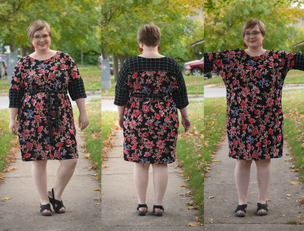 A plus-size blonde shows the front, back and unbelted version of a shift dress.