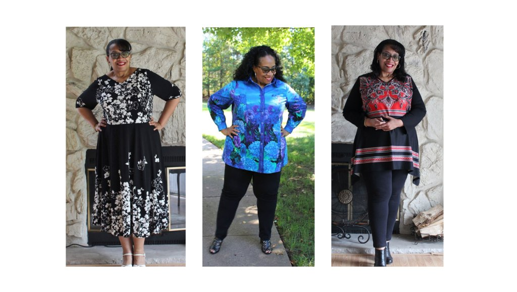 photo of plus-sized, black woman in 3 different border print sewn outfits