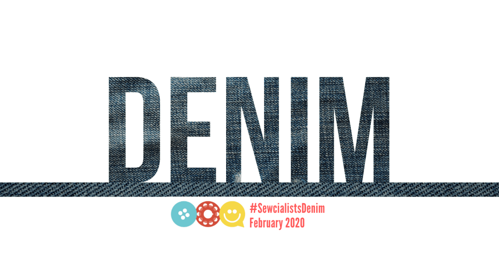 "banner graphic for denim month, showing the letters for the word ""denim"" in denim texture, juxtaposed against a white background. The Sewcialists logo and the hashtag #SewcialistsDenim also appear."