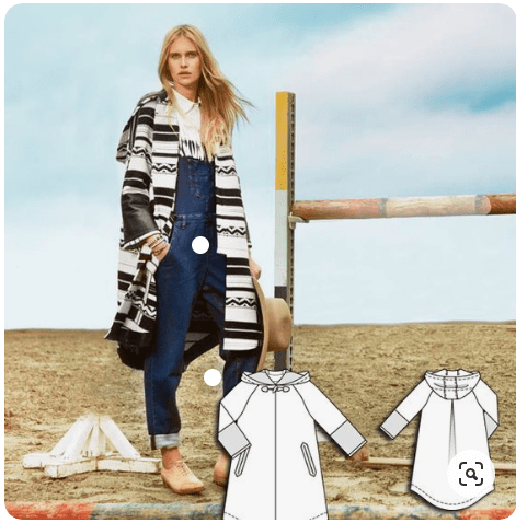 "Burda's modeled photo for  pattern 103 ""Imitation Leather Parka"" from the 08/15 issue. A model stands on a beach wearing the jacket, which is made of a printed faux-leather material and features contrasting solid black cuffs."
