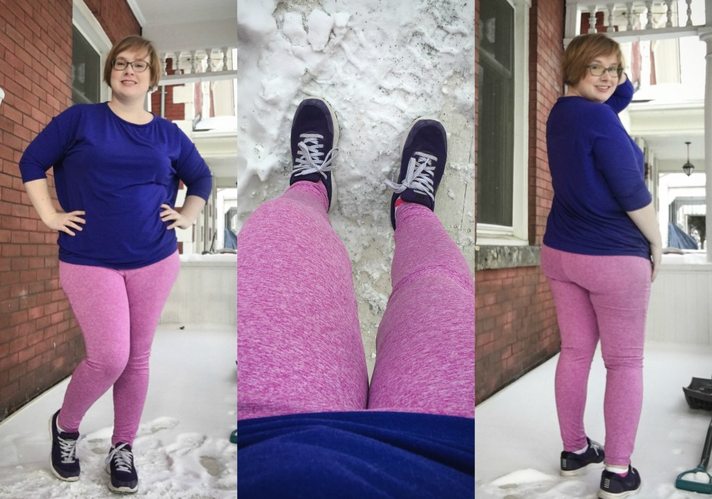 A trio of images of Gillian in some bright pink leggings, showing different angles of the same outfit.