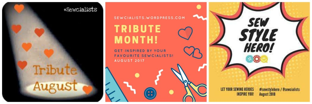 Graphics from past tribute theme months: Tribute August 2014, Tribute Month 2017, and Sew Style Hero 2018.