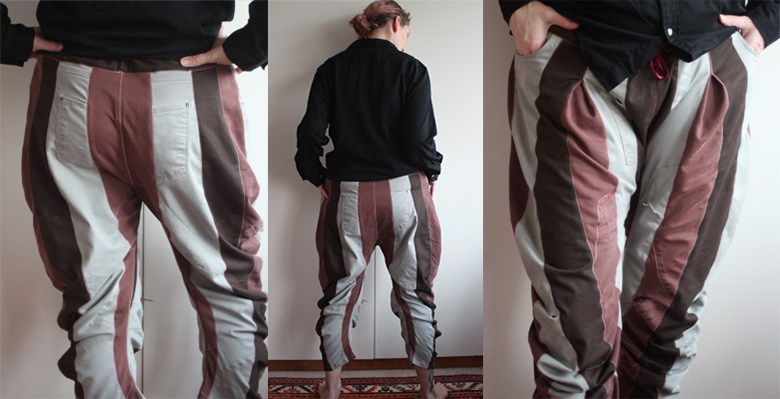 A three part picture showing close up, back and front views of a pair of jeans made out of piecing cream, rust and brown fabrics together into horizontal stripes.