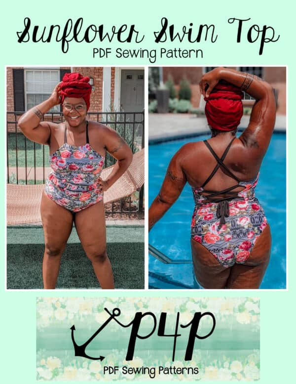 Pattern cover image of a person modeling a multicolor one piece bathing suit