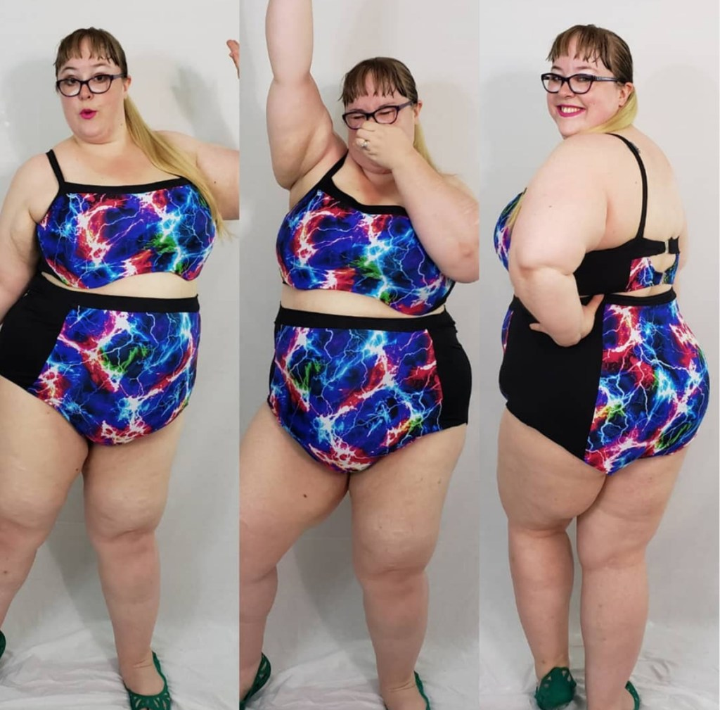 Photo of a curvy person in a two-piece bathing suit