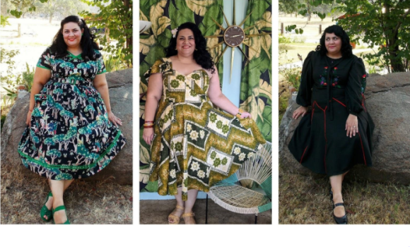 Three full-length photos of the author in vintage dresses