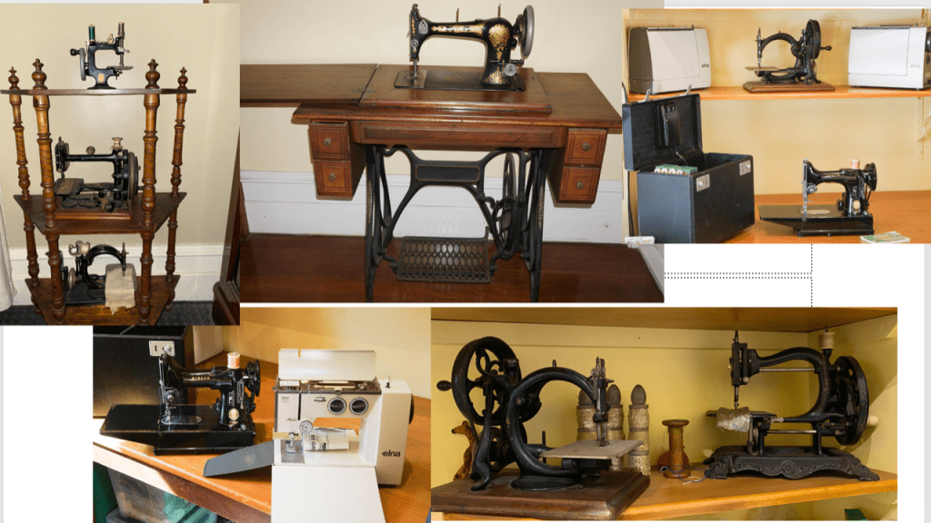 A selection of Sue's hand crank and treadle sewing machiens. Som eare built into tables and some are table-top models.