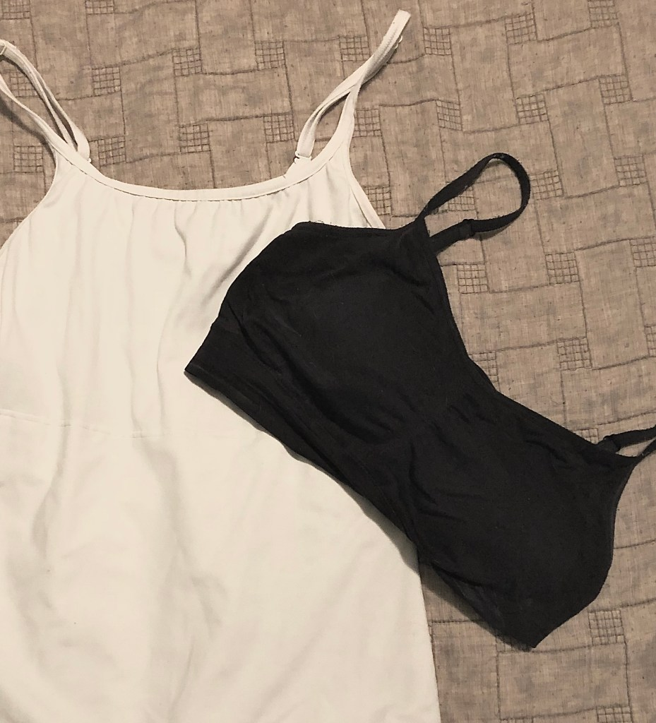 Two garments are shown: A sports bra and a shaper bra (also known as longline)
