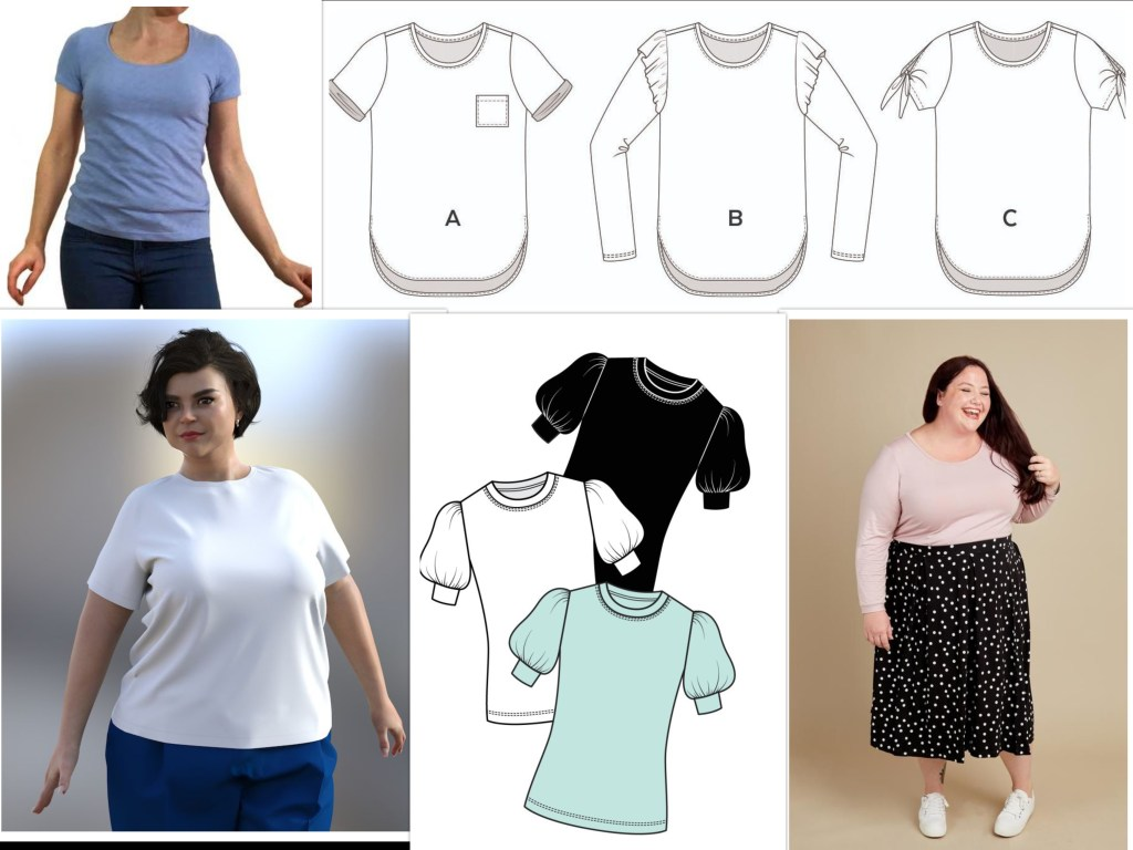 Five different tee shirt patterns; three are photos and two are line drawings. These tees feature curved hems, a scoop neck, puffy sleeves, a classic fit, or long sleeves. One of the line drawing patterns has sleeve variations.