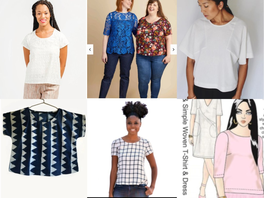 Images of 6 more easy to wear T-shirt patterns.