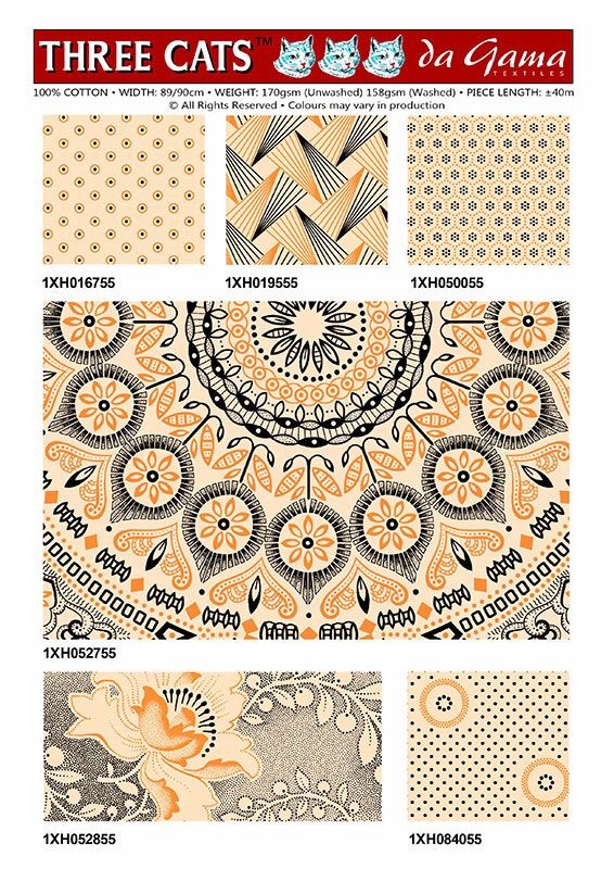 Another selection of  6 prints from Da Gama Textiles.These ashow back and yellw patterns on a white background.