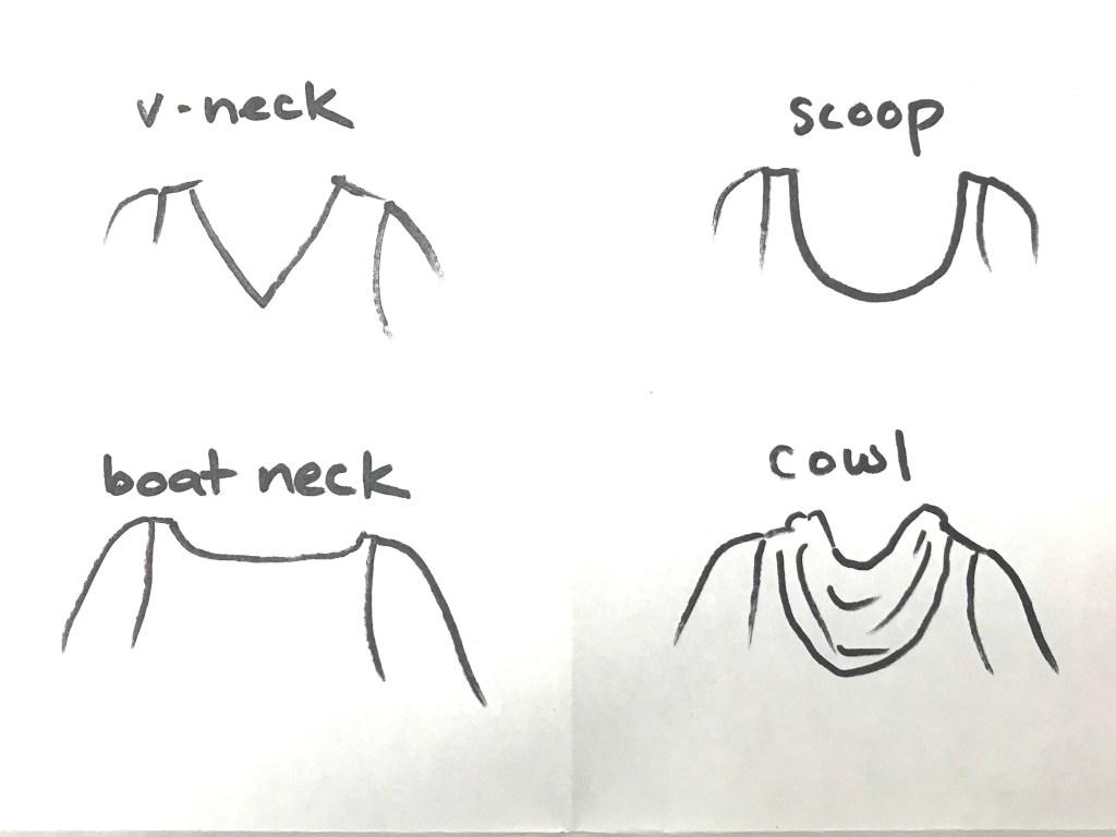 Sketches of four necklines: v-neck, scoop, boatneck and cowl.