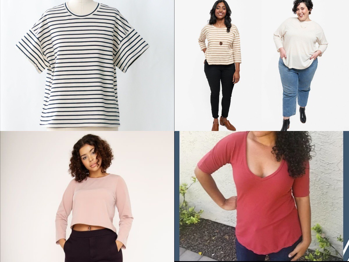 Gallery image of four T-shirt patterns: a mannequin wears a loose T-shirt with oversized sleeves in black-and-white stripes, two women stand in front of the camera, one wears a brown and white striped three-quarter sleeve T-shirt and black pants; the other wears a long-sleeved white T-shirt and jeans, a woman with mid-length brown curly hair wears a long-sleeved crop top in pink and black capri pants, a woman with long, curly brown hair wears a red T-shirt with above-the-elbow sleeves.