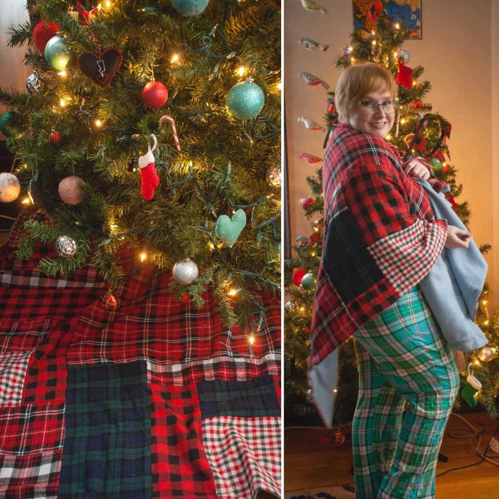 Left - a Christmas tree with a red, blue and white patterned skirt on the floor below. Right - Gillian, standing in front of the tree, is now wearing the same Christmas tree skirt, with green checked trousers.