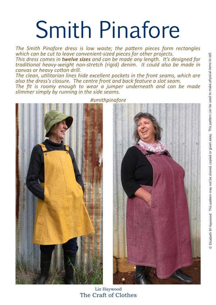 Two versions of the Smith Pinafore dress - on the left a yellow version is modelled in a small siz, on the right a pink dress is modelled in a larger size.