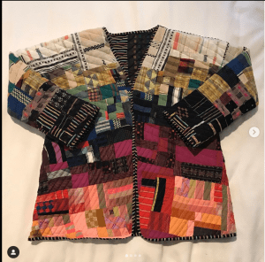 colourful jacket made completely from scraps of fabric