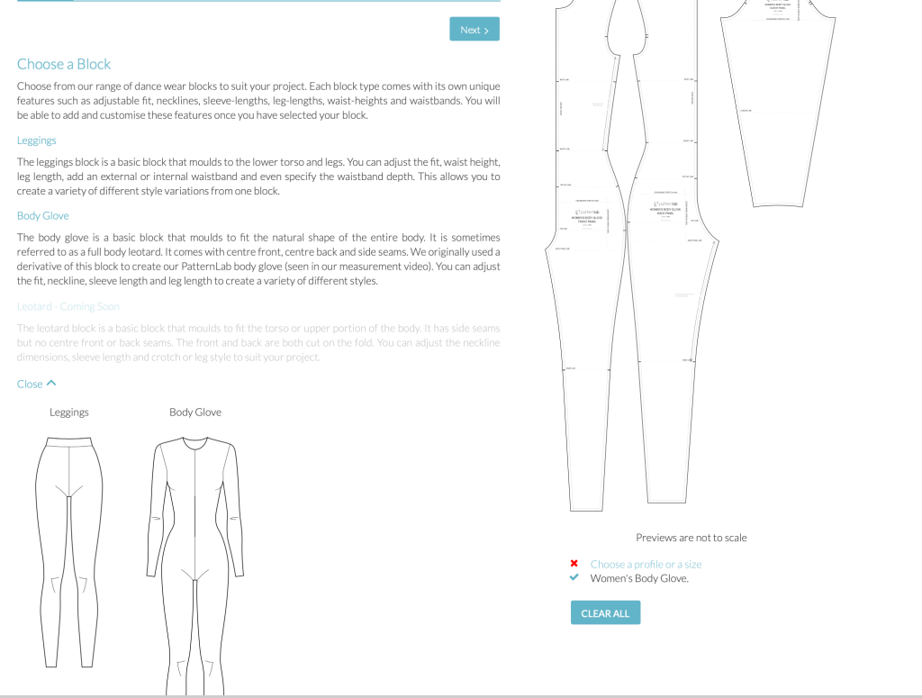 line drawings of leggings and a body glove. Pattern pieces for body glove are shown.