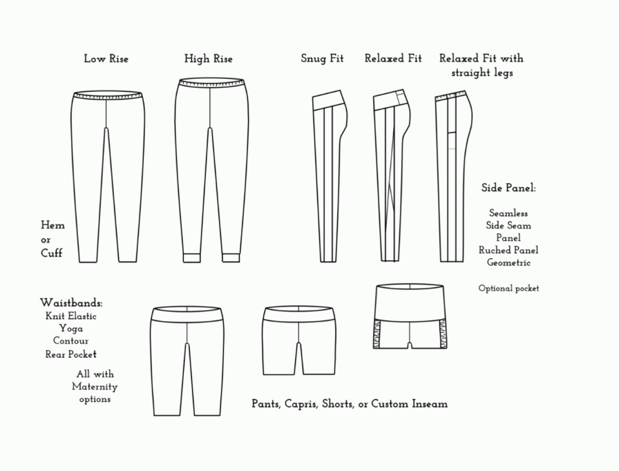 Drawing of different styles of leggings and shorts, including fit and design.
