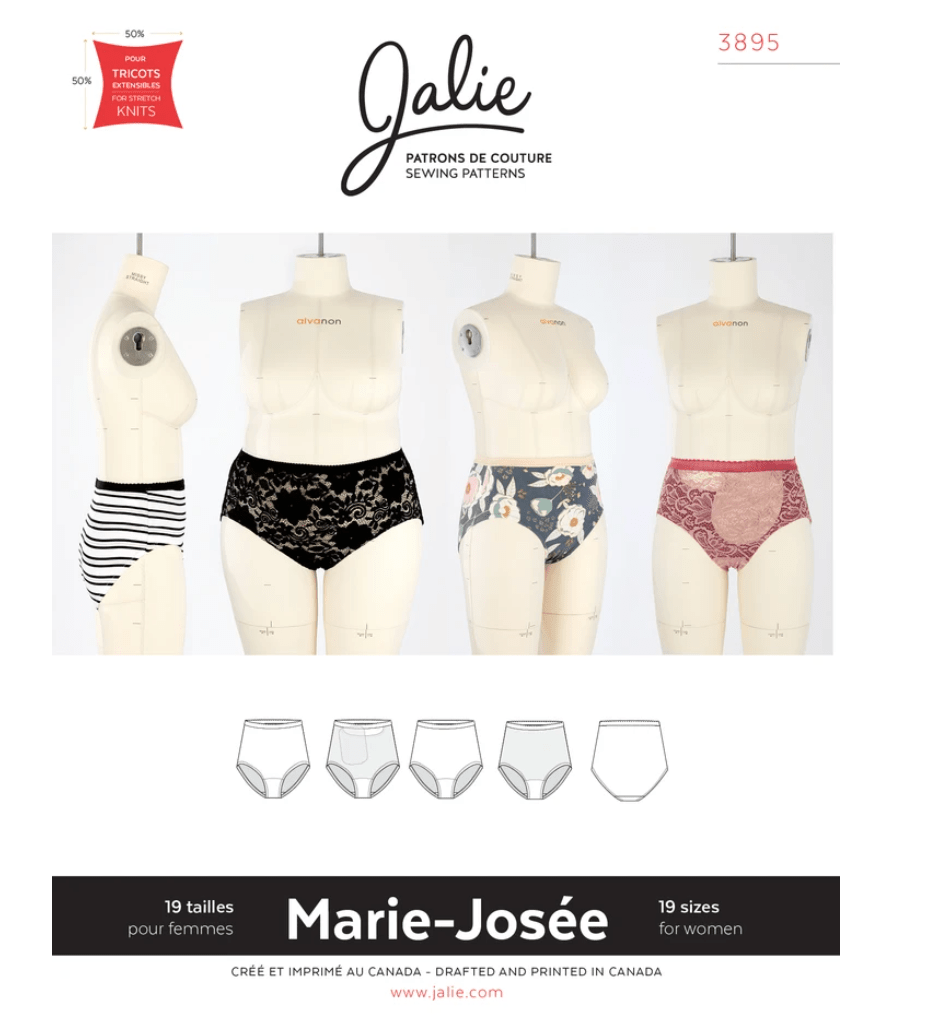 A screen shot of a Jalie underwear Pattern which shows four dressmakers dummies each wearing a different version of the underwear, including one which has a pocket for an ostomy bag
