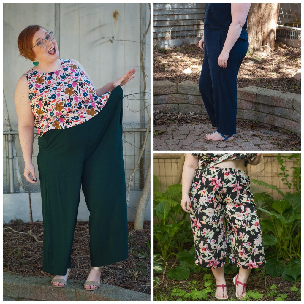 A small fat White woman poses in three pairs of wide leg flowy pants.