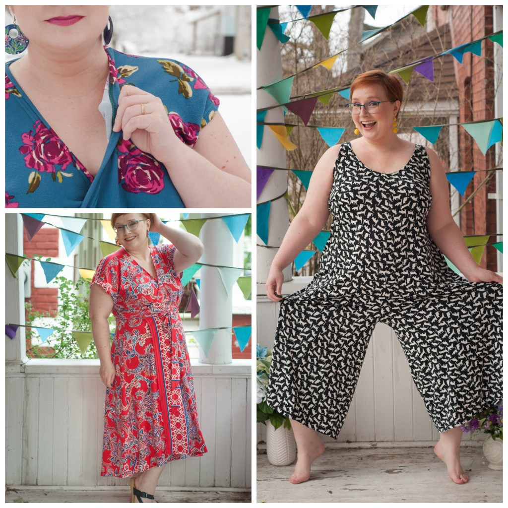 Small fat White woman poses in a cat print jumpsuit, red and blue paisley wrap dress, and a floral jumpsuit.