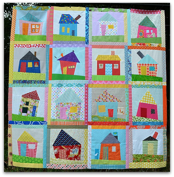 The sewing chick wonky house quilt top finished for Modern house quilt block