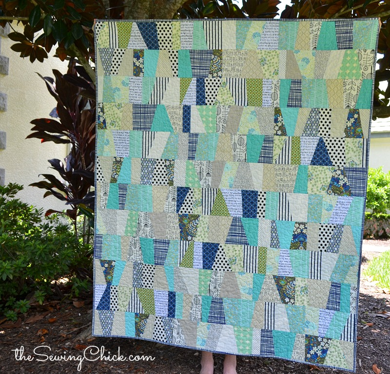 modern quilt navy green and aqua the sewing chick