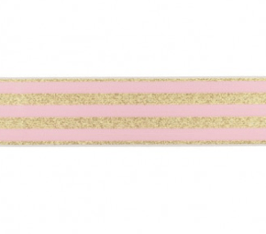 Elastiek lurex roze en goud 40mm
