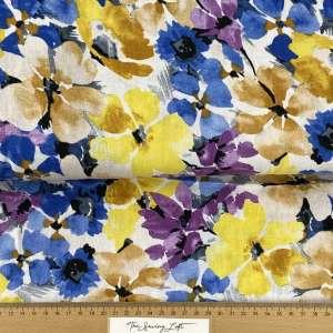 Bright flowers-linnen viscose COUPON 1m15