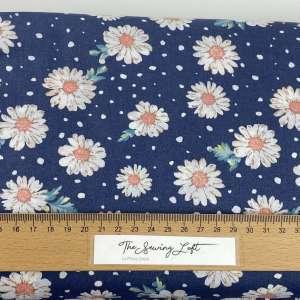 Blue daisy – popeline katoen