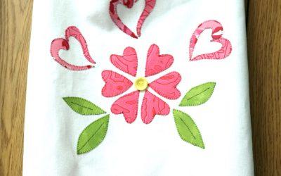 Applique Hearts Tea Towel