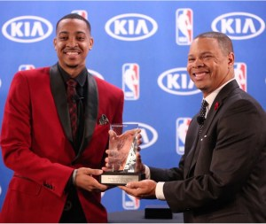 CJ McCollum accepts his award for being Kia's Most Improved Player 2015-2016