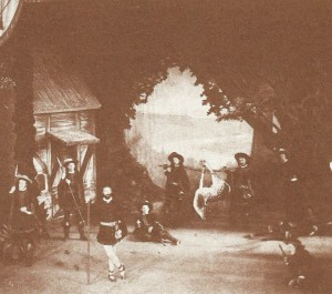 The foresters and deer in As You Like it, 1879