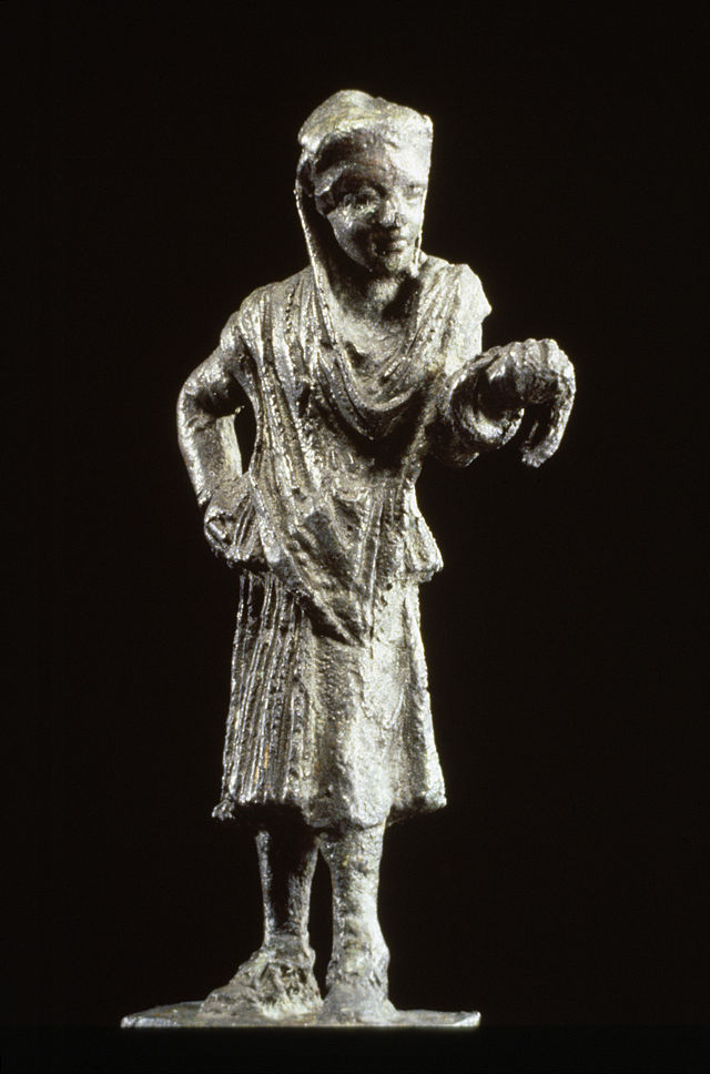 Bronze statue of a Greek actor in female dress