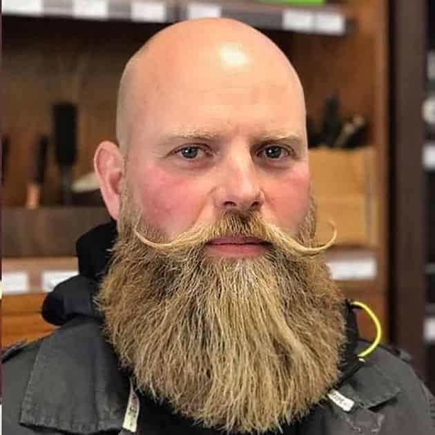 Full Long Beard with Curved Mustache and Bald Head