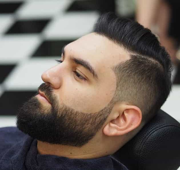 curved beard style with fade hair style