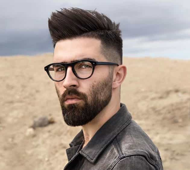 flat medium beards with Pompadour hair and Glasses